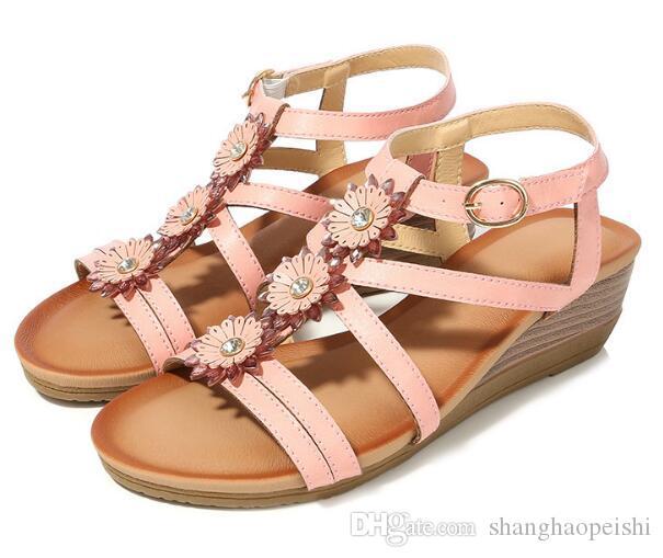 Il nuovo modo calza della Boemia delle donne strass Fiore cuneo romani cuneo donne sandali comodi più le donne Scarpe