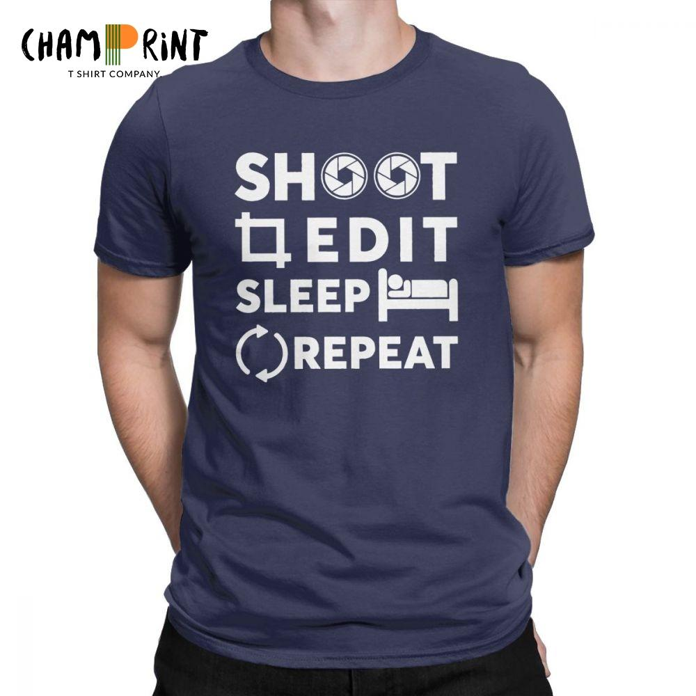 Disparo Editar sueño Repita el fotógrafo Camisetas Hombre 100% algodón Camiseta graciosa Camiseta Geschenk Kamera Ropa Tallas grandes