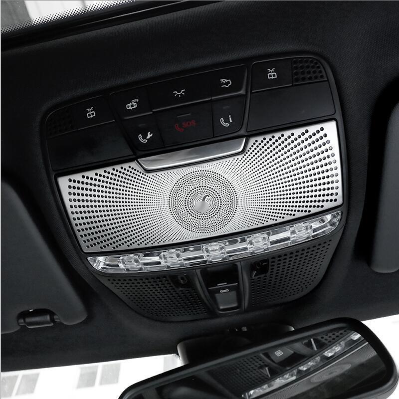 스테인레스 스틸 자동차 지붕 독서 라이트 패널 장식 돔 램프 커버 메르세데스 벤츠 2015-2018 C 클래스 W205 GLC X253 5.0 트림