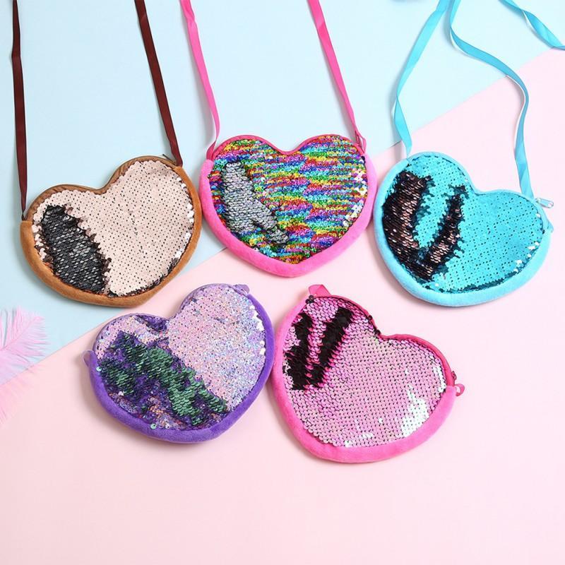 New Sequins Loving Heart Kids Shoulder Coin Bag Baby Girls Mini Messenger Bag Cartoon Boys Small Coin Purse Children Handbags