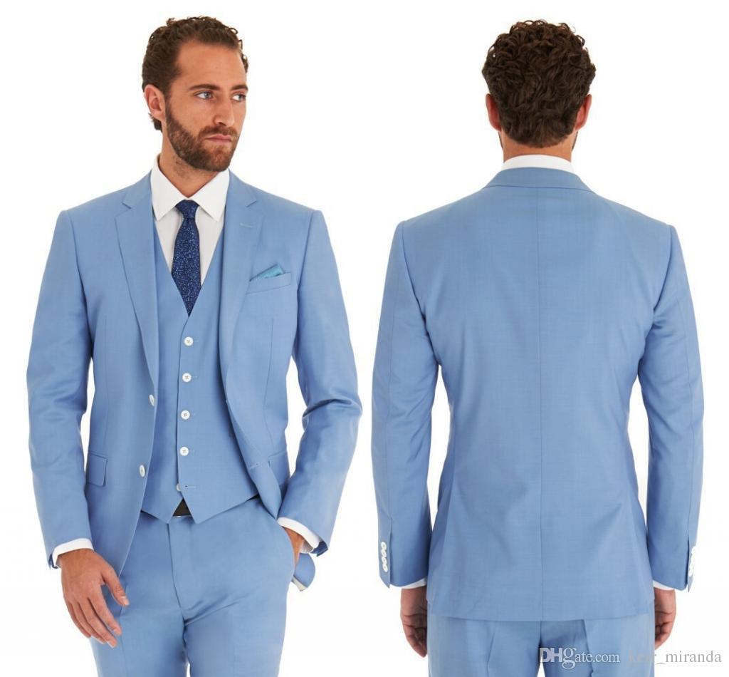 2020 Sky Blue Body Trajes de Boda Slim Fit TUXEDOS DE TUXEDOS PARA HOMBRES 3 PIEZAS GRANDSMENS JUEGO CAMPA DE NEGOCIOS FORMALES (chaqueta + pantalones + chaleco)
