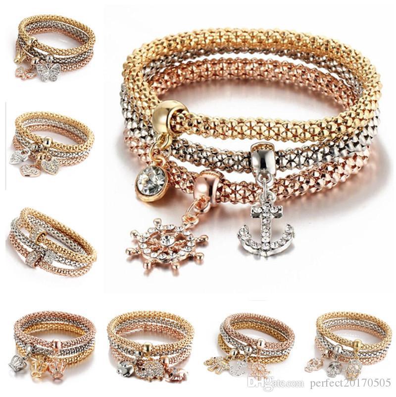 3pcs / set cristal élastique bracelet diamant coeur coeur couronne arbre de vie crâne papillon charme bracelet manchette ensembles bijoux livraison gratuite