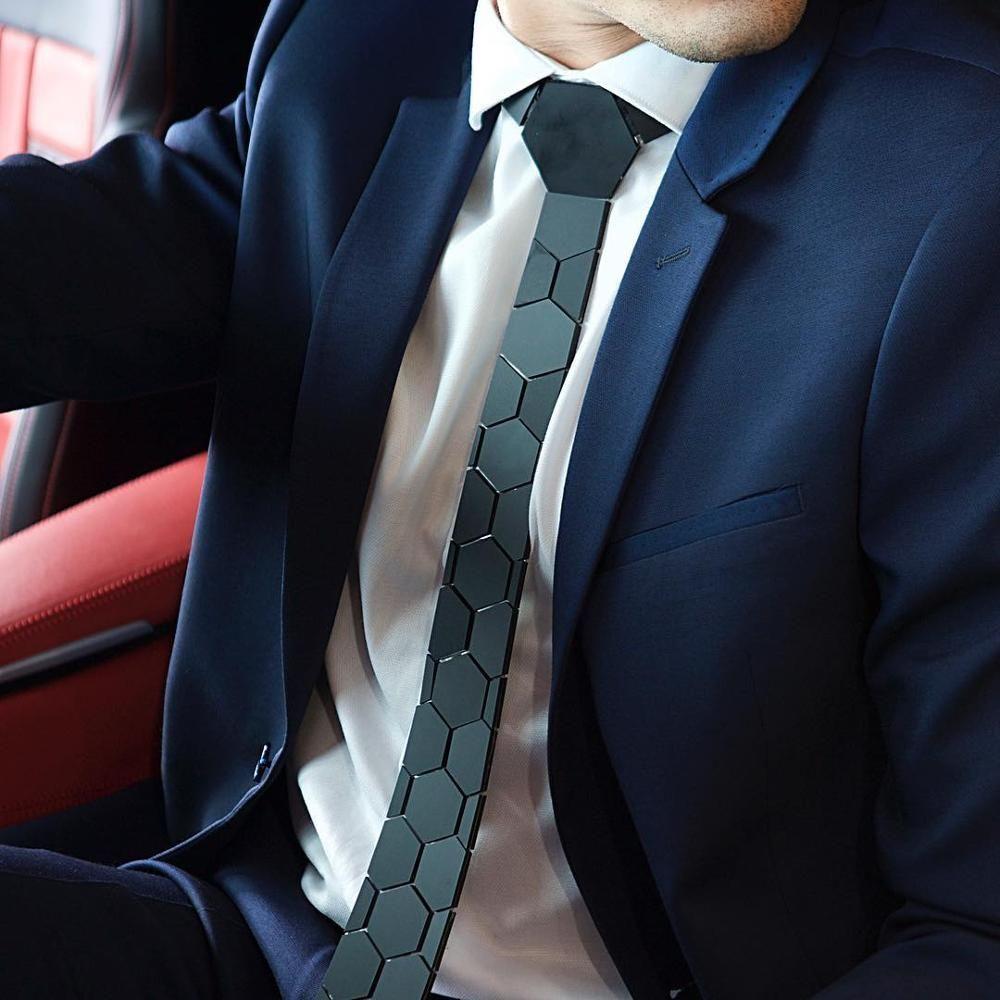 Hex corbata de estilo clásico geométrica Negro Tie Honeycomb acrílico mate delgado de la manera corbata de regalo visita de la caja Camisa Blazer joyas accesorios