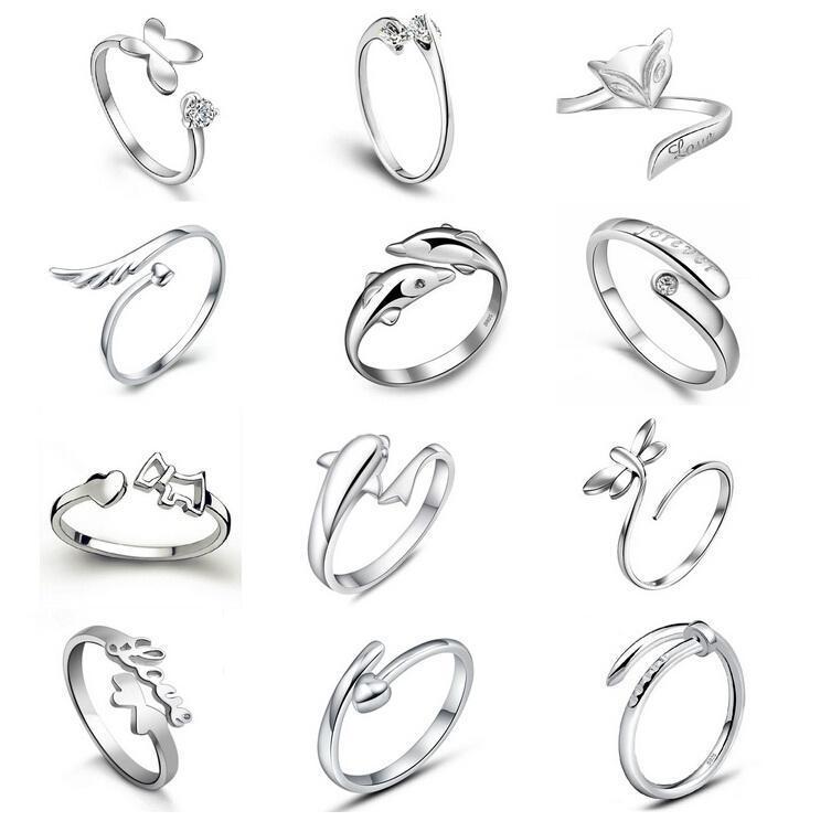 Nuevos plata esterlina 925 Jewerly Anillos Dolphins Alas de la libélula del Ángel Amor Fox mariposa de la apertura ajustable anillo para las mujeres
