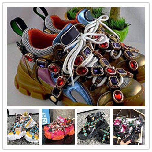 Plus récent concepteur FlashTrek Sneaker avec cristaux amovibles Chaussures Hommes Designer Casual Luxury Fashion Designer Luxe Womens Sneaker Shoe 0a25