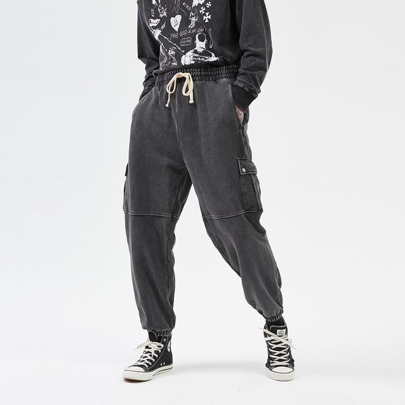 está solto Homens New Streetwear Wash Retro Big bolso feixe Calças Casual cordão Corredores Baggy Pista Hip Hop Pants Men T200507