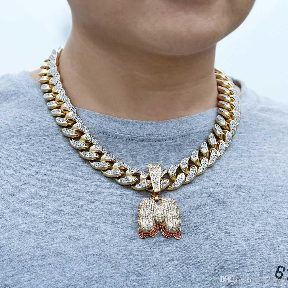 Iced Out Man Pendant corrente de ouro Hip Hop para homens jóias homem coreano acessórios de moda cobre nenhuma cadeia Guban Alto grau de Zircon jóias