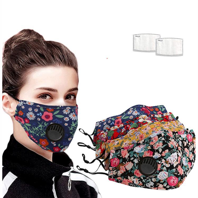nuova floreale valvola di sfiato di stampa con 2pcs filtro traspirante Bocca maschere antipolvere riutilizzabile pulizie Mask Designer T2I5933