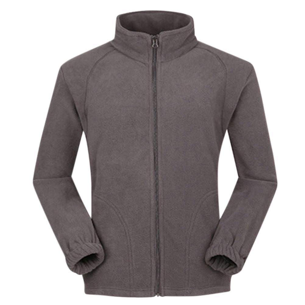 MISSKY Men Jacket Warm Full Zip Casual Fleece Jacket Solid Color Outdoor Climbing Hiking Coat Long Sleeve Sweatshirt Fitted Winter Jackets Brown