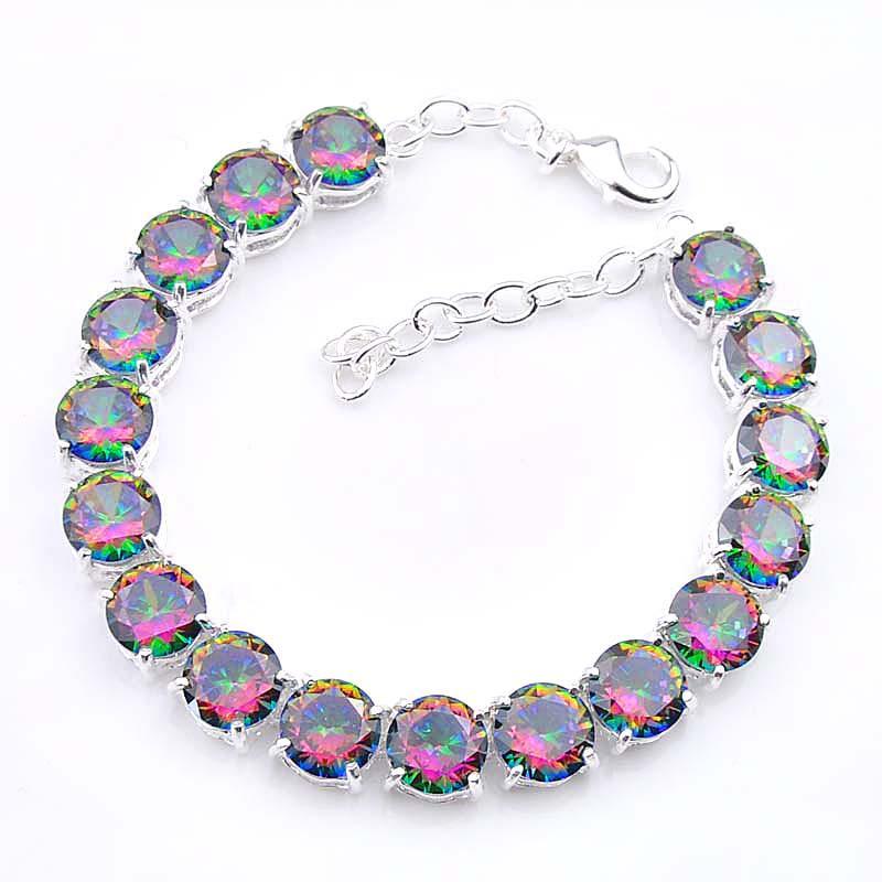 5 st Massor av hög kvalitet Fashion Round Shaped 8 mm Färgglada Topaz Armband Smycken 925 Silver Party Julklapp till kvinnor B0333