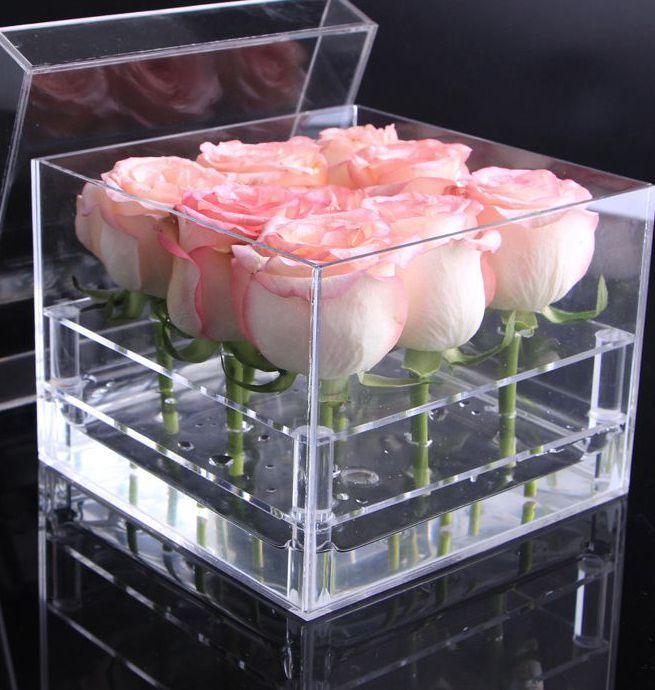 Box Flor Acrílico Rose Multi função Organizer Titular da composição Caso Cosmetic Tools Titular presente KKA7894 dos Namorados