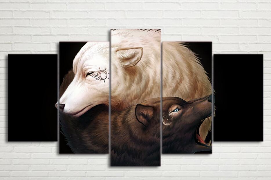 Stampa HD 5 pezzi di arte della tela 2 lupi Pittura-Poster Immagini a parete per soggiorno senza cornice Home decorazione della tela di canapa pittura