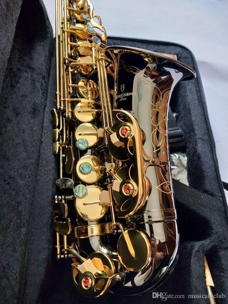 اليابان العلامة التجارية ياناجيساوا A-902 ساكسفون ألتو إب الأسود النيكل الذهب زر ألتو ساكس الأعلى الموسيقية مع المعبرة