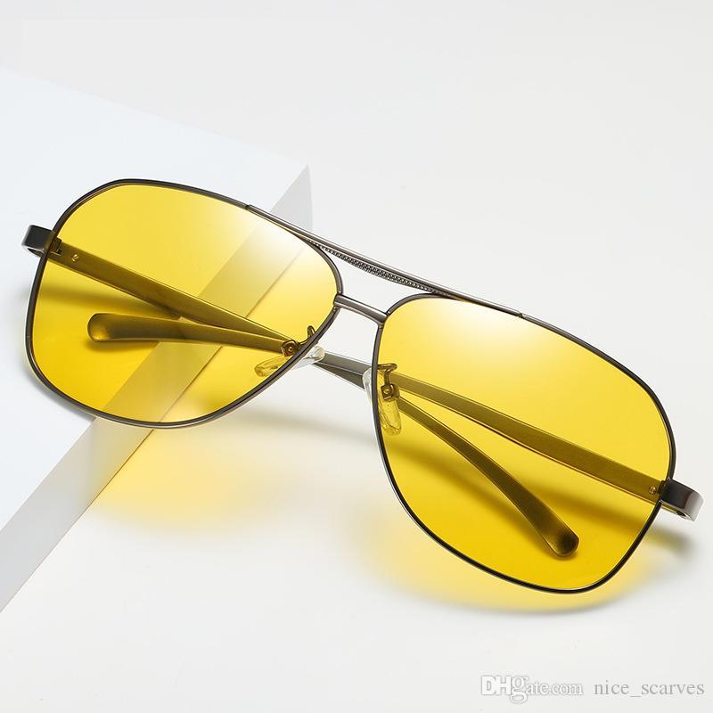 Ретро Мужчины Поляризованные Солнцезащитные Очки Мода Алюминий Магния Поляризационные Солнцезащитные Очки HD Очки Ночного Видения Очки 201981