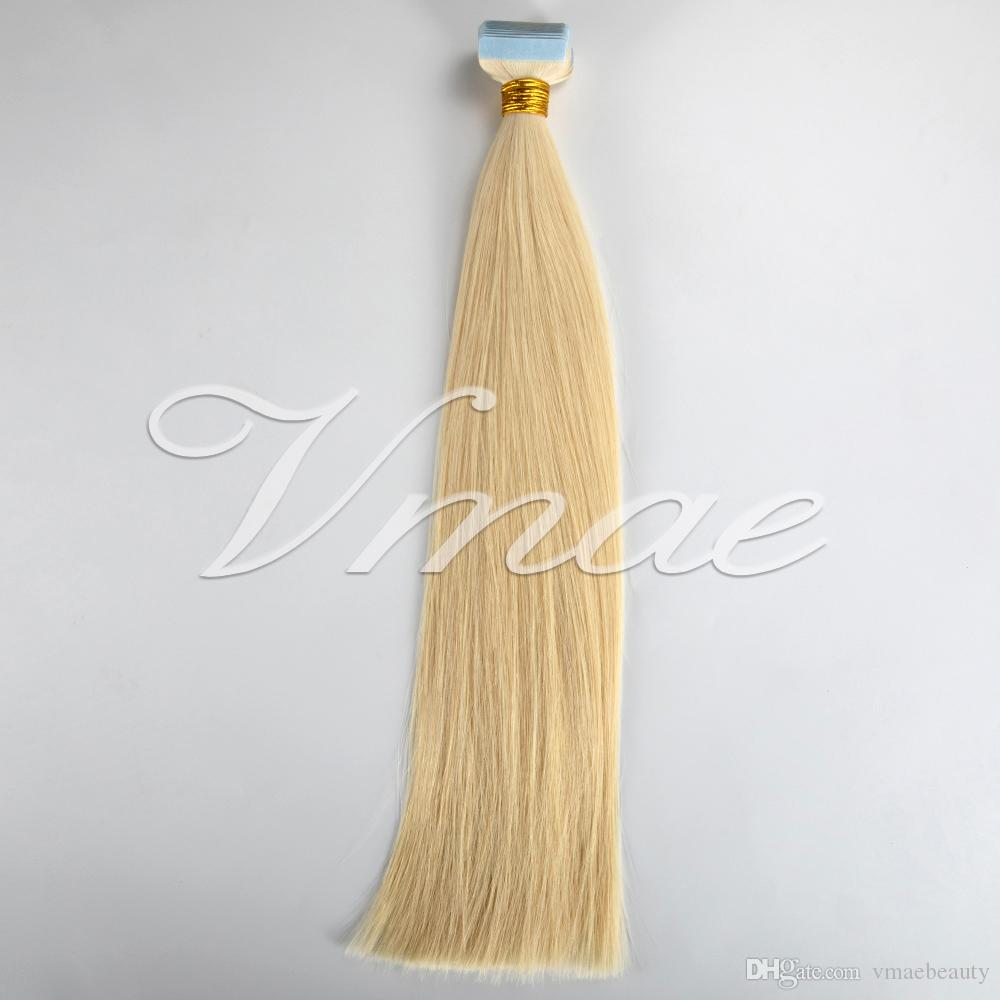 الأوروبي 14-26 بوصة مزدوجة الشريط تعادل في 100G شقراء البني متعدد الألوان السوداء العذراء ريمي الشعر الإنسان حريري هاي