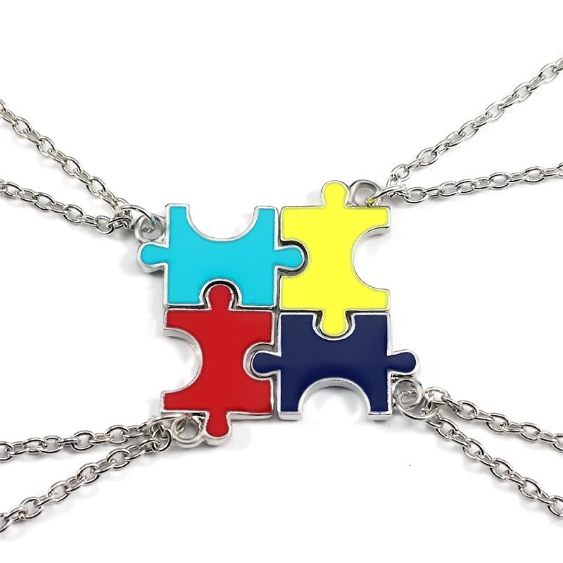 4 pièces / paire Colliers Pendentif Puzzles Colorful meilleur ami pour toujours collier en argent chaîne Bijoux Cadeaux pour Bff Cadeaux Famille Femmes