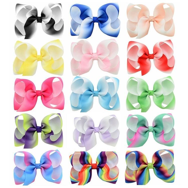 Neonate da 4,3 pollici Rainbow Gradient Grosgrain nastro di nastro di nastro con clip per bambini per forcine barrettes clip bella huilin c173