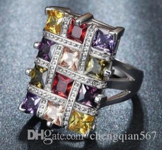 3 unidades / lotes baixo preço de alta qualidade chaming 925 prata diamante de cristal tamanho do anel da senhora 6 --- 12 7iiir