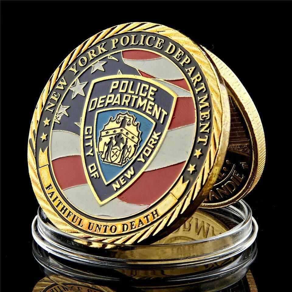 Police Challenge Coin New York City Sacrifice Police Army Military 1oz Gold Plated Souvenir Medal Craft