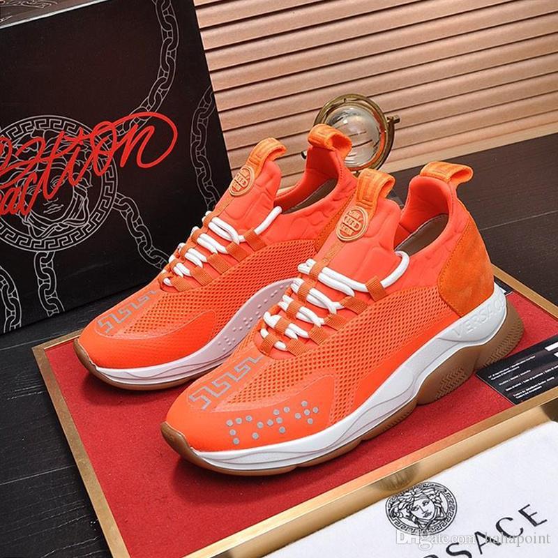 Versace Mens scarpe comode scarpe da uomo sportivo leggero Footwears Lace-up Moda Classic Vintage Casual Scarpe da uomo Scarpe da ginnastica Croce Chainer