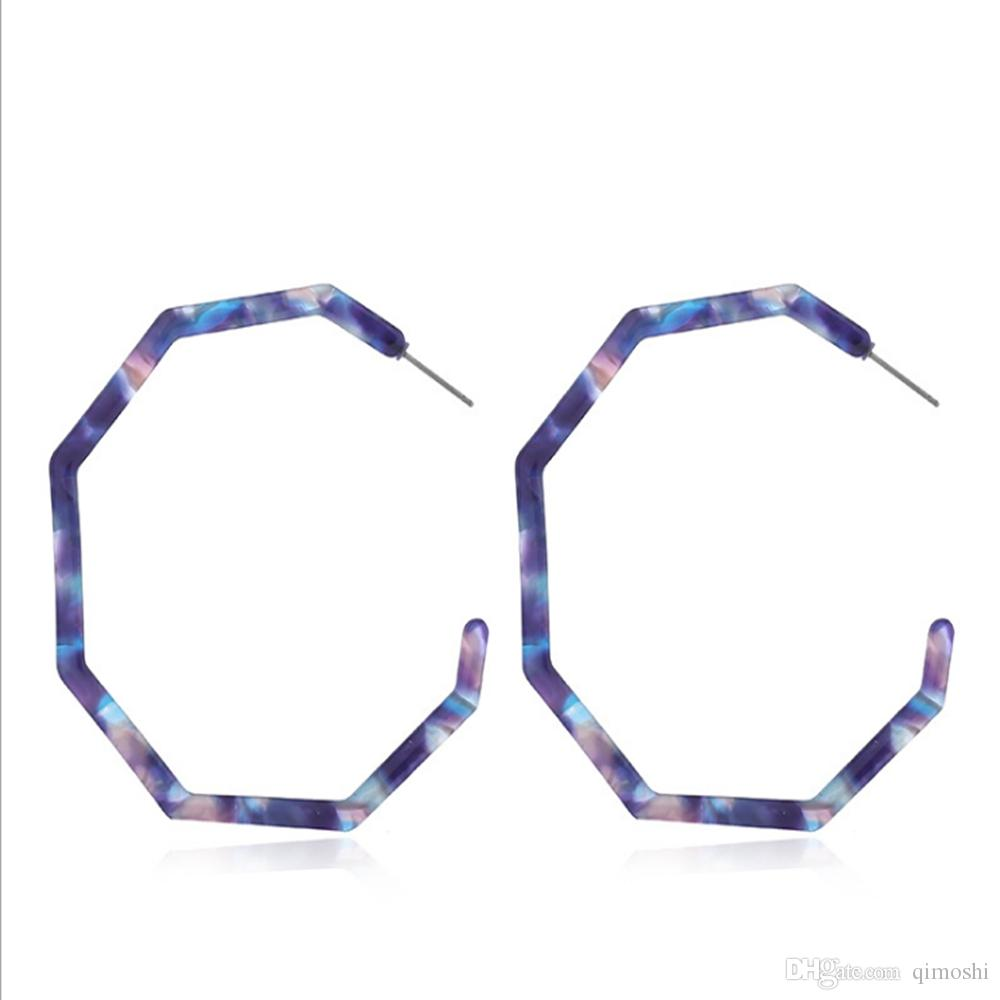 Pendientes de acrílico Aro Pendientes de resina ligeros Pendientes geométricos de octágono Pendientes de botón de bohemia Joyería de moda