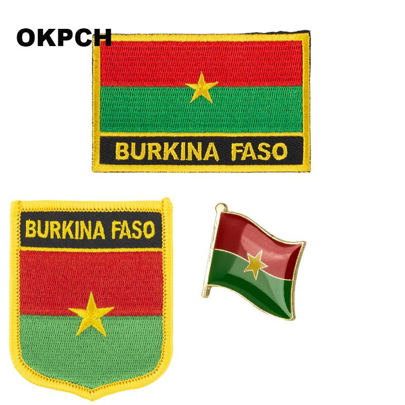 Буркина-Фасо флаг патч значок 3шт. Набор патчей для одежды DIY украшения PT0044-3