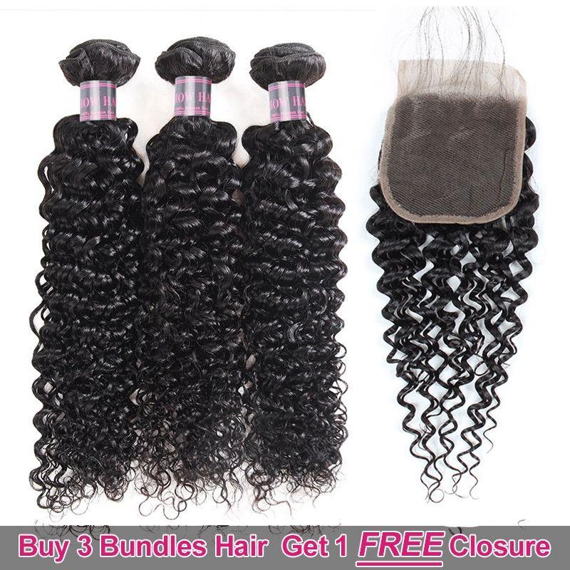 Promoción de ventas grandes de cabello Ishow. Compre 3 paquetes. Obtenga un cierre gratuito. Rizado brasileño rizado. Sin procesar. Parte del cabello humano peruano.