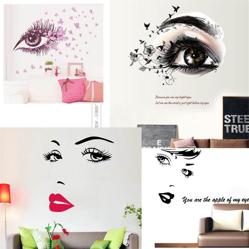 Simple élégant Vivid 3D de style européen mur bricolage yeux Stickers pour les chambres Décoration murale Living Room Stickers Affiches