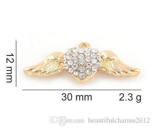 12x30mm (Gold, Cor Prata) 20PCS / lot asa do anjo Charme Pendant DIY Asa de acessórios próprios para Floating Medalhão jewelrys