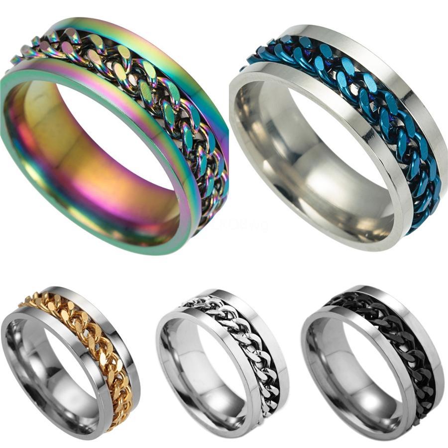Mens Fashion 316L de aço inoxidável preto Curb Cadeia Banda dedo anelar Punk gótico Arrefecer # 577