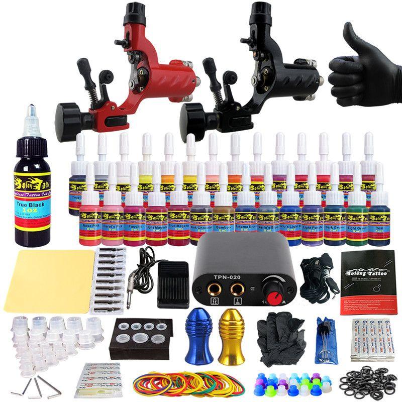 Kits de tatuagem profissional 54 tintas definidas 2 máquinas rotativas Armas de forro e sombreamento de alimentação de alimentação Tatuagens agulhas