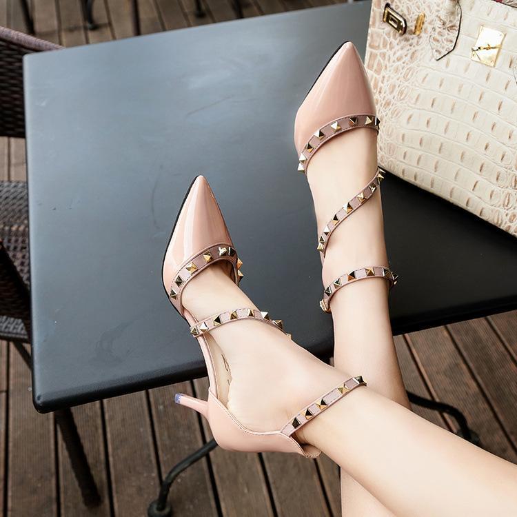 Rivet single stiletto high heels word buckle sandale designer sandal slides party shoes women sandals Studded pointed