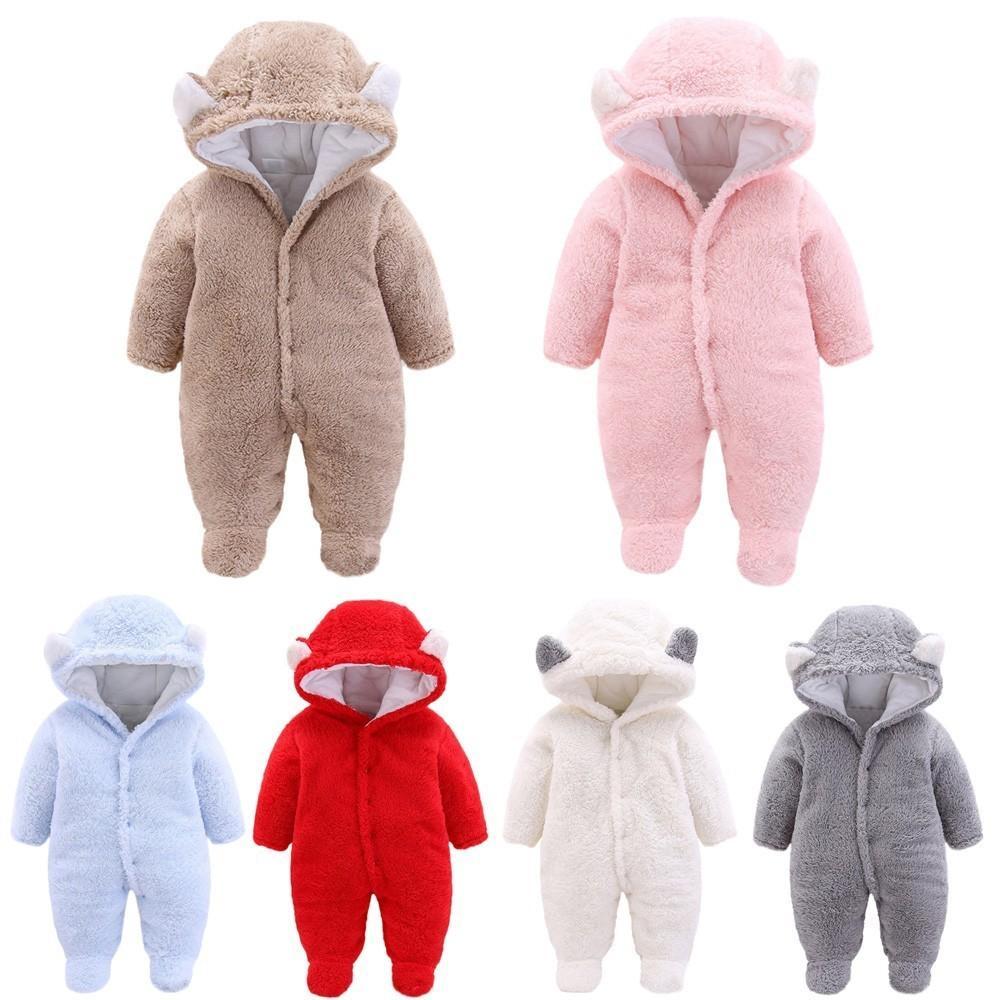 Arloneet Newborn Plush And Velvet Warm Romper Baby Girls Boys Solid Cartoon Ear Velvet Hooded Jumpsuit Romper Clothes G0509 J190524