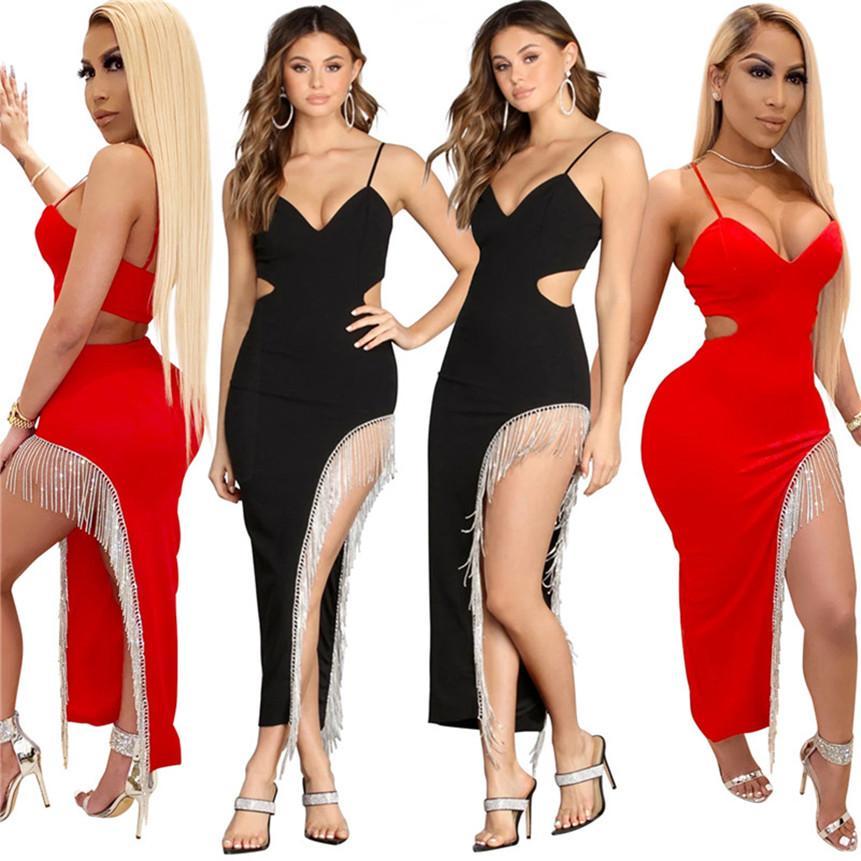 Frauen Sexy Split Kleider Gurt Spaghetti Lange Röcke Mode Quaste Clubwear Strass Kleid Frühling Sommer Kleidung Skinny Kleid 2687