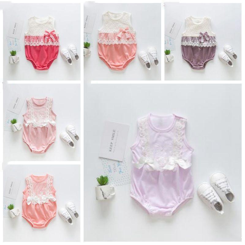 Baby Rompers Kids Designer Одежда Девочки Summer Lace Комбинезоны Toddle безрукавки Комбинезоны Новорожденный Boutique Bodysuit Infant Climb костюм B5850
