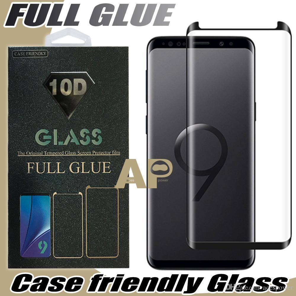 Full Adesive Clue Capa Amigável Vidro Temperado 3D curvado para Samsung Galaxy S21 S20 Ultra S10 S9 Nota 10 9 S8 Plus OnePlus