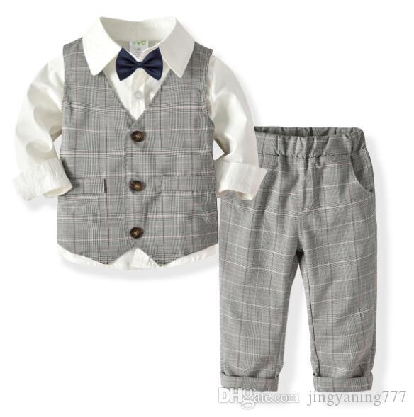 2019 Nuovo di successo Boys'Long manica a due piani pantaloni cravatta vestito per il compleanno banchetti Abiti Produttori per bambini diretto Si