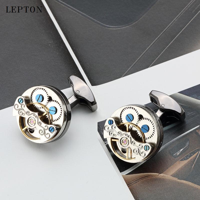 Lepton Hot Sale Movement Tourbillon Cufflinks For Mens Wedding Groom Mechanical Watch Steampunk Gear Cuff links Relojes Gemelos SH190925