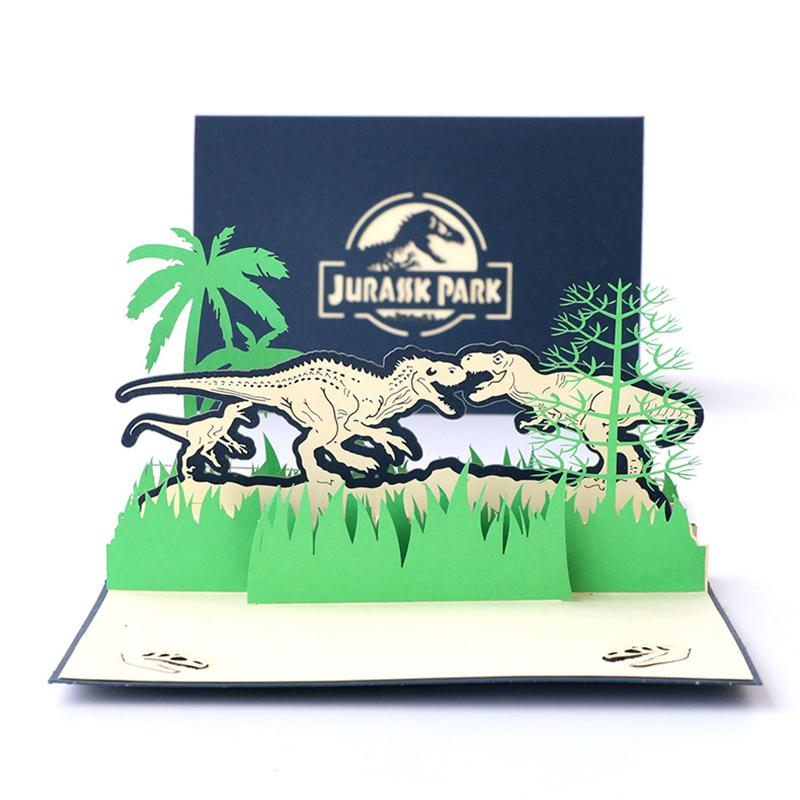Personality Children Handmade Greeting Card Creative 3D Greeting Cards Jurassic Dinosaur Hollow Card for Birthday Gift