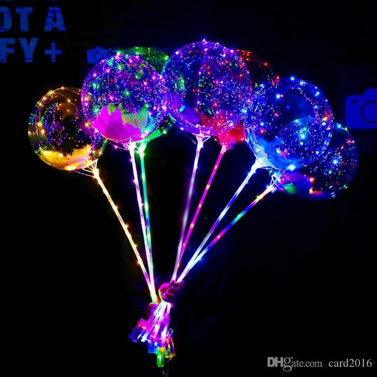 LED Balloon Luminous Latex Balloons Wedding Room Birthday Party Decoration bobo Balloon Lighted Toys For Kids New Year Gift With Stick