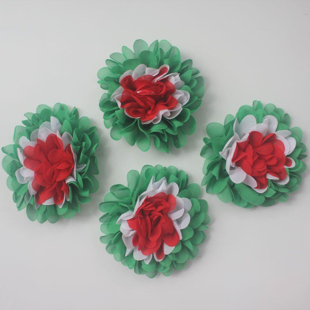 """40pcs 4.5"""" Weihnachten Mehrschichtige Chiffon Stoff Blume mit Dual-Use oder Gefüttert Clip für Mädchen Haarschmuck, Kunsthandwerk Blumen-Supplies"""