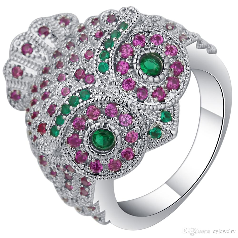 S925 mall owl party engagement rings for women charming pink&green cubic zirconia stone silver color luxury cute rings size 6-10