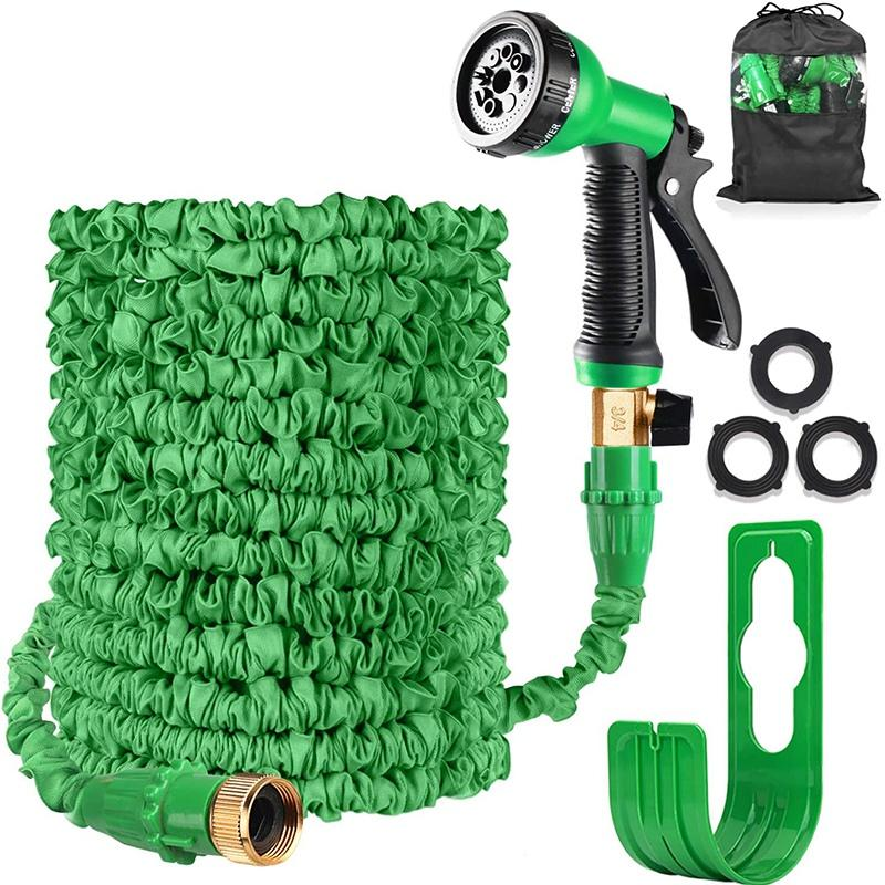 100FT Expandable Garden Water Hose Pipe Expanding Flexible Hose with 8 Wall Holder/Storage Bag for Lawn Pet Car