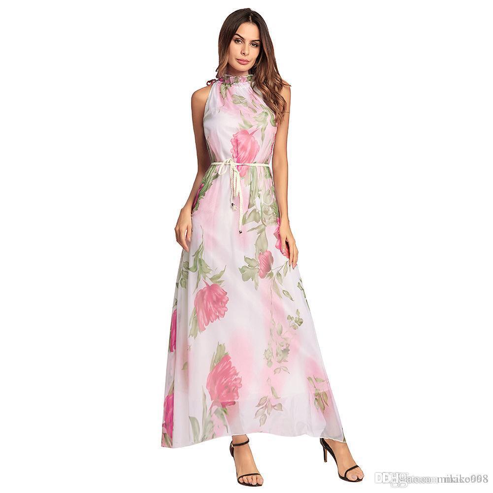 Bohem yeni bahar rüzgar plaj elbisesi kaliteli- yüksek baskı şifon elbise