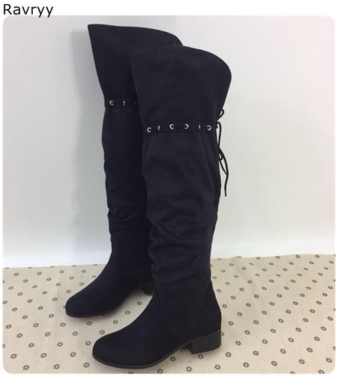 Женщины длинные сапоги черная кожа зашнуровать шнурок женский ботинок низкий каблук краткий осень зима мода party show dress обувь