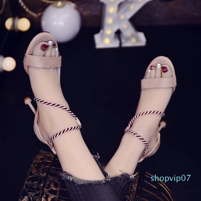 Current2019 Sandales Cat femme Une boucle Fée du vent à haut talons Chaussures Fine Avec Rome Femmes Sexy