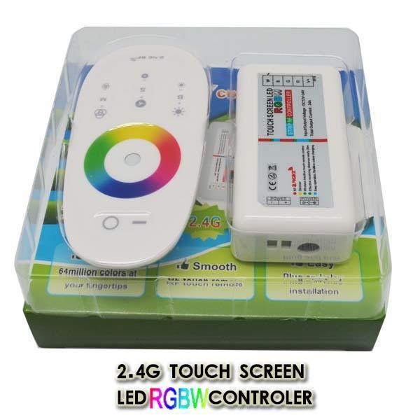 2.4G беспроводной сенсорный экран управления RGBW LED контроллер DC12-24V 24A RF пульт дистанционного управления для прокладки СИД / шарик / светильник Бесплатная доставка
