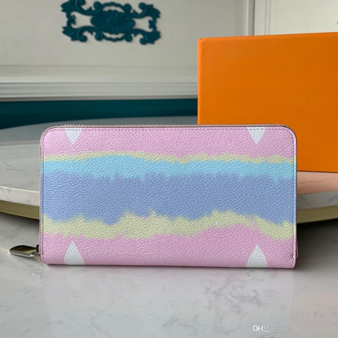 Zip uzun cüzdan hediye kutusu kravat boya standart cüzdanlar kadınlar için pembe cüzdan hediye kutusu ile pembe mavi kırmızı 3 renkler bayan yaz cüzdan