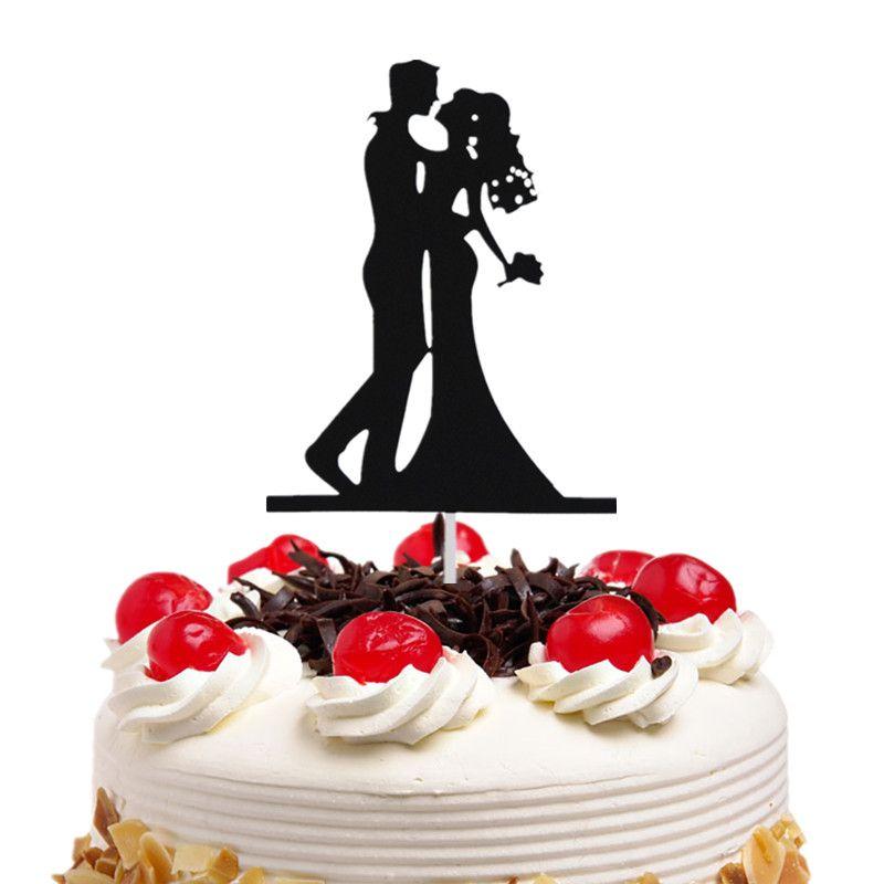 20pc/lot Cake Toppers Flags Black Mr & Mrs Kiss Love Kids Birthday Cupcake Topper Wedding Bride Groom Party Baking DIY Xmas