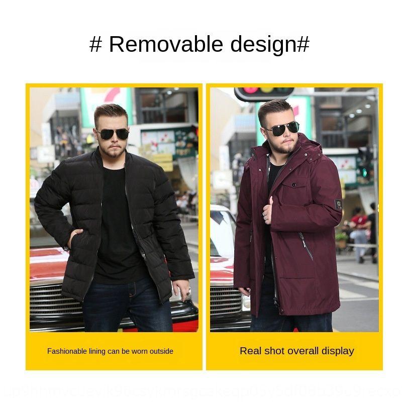 ceket aşağı SM8QE 2019 Yeni astar ceket erkekler ekstra yağlı ekstra uzun ayrılabilir astar ekstra büyük boyutta aşağı yeşil orta yaşlı yüz c kalınlaşmış